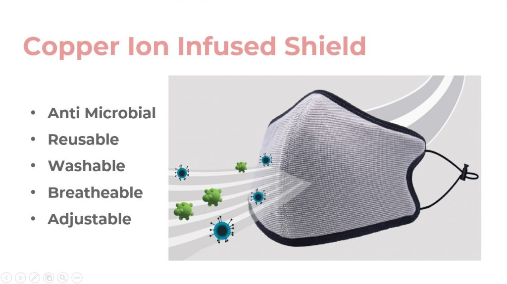 3D copper ion infused shield mask